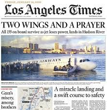 """2009:The pilot of an airliner that ditched in New York's Hudson River has been hailed a hero after all 155 passengers and crew were rescued. The Airbus made the crash-landing, both its engines apparently disabled by a flock of birds. Passengers were rescued from the wings or helped from the icy water by divers. Captain Chesley Sullenberger was praised by New York Mayor Michael Bloomberg for his """"masterful"""" landing. The state governor spoke of a """"miracle on the Hudson""""."""