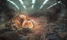 One of the mining colonies on Mars. Temporary towns are set up right ...