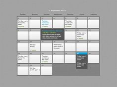 XOO Plate :: Modern Web UI Event Calendar PSD - Classy grey web event calendar with dropdown or tooltip for extended entries. PSD