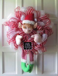 Adorable Elf Christmas Wreath Mesh
