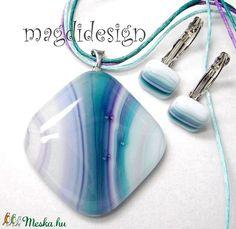 Pávatoll üvegékszer szett, nyaklánc, kapcsos fülbevaló (magdidesign) - Meska.hu Pendant Necklace, Jewelry, Jewlery, Jewerly, Schmuck, Jewels, Jewelery, Drop Necklace, Fine Jewelry