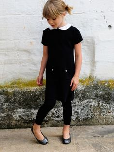 olive juice kids / black legging / black dress / skimmers = really cute!