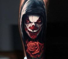 Creepy clown tattoo by Alexander Kolbasov