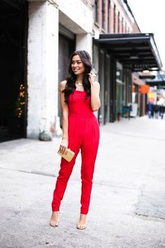 The red jumpsuit is absolutely perfect for a Valentine's date.