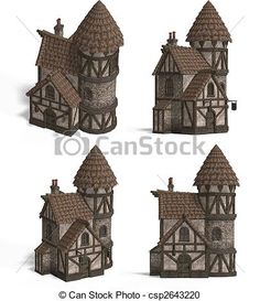 Stock Illustration - Medieval Houses - Inn - stock illustration, royalty free illustrations, stock clip art icon, stock clipart icons, logo, line art, pictures, graphic, graphics, drawing, drawings, artwork