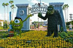 How much time was spent at EPCOT and I still missed this??? :D Disney Topiaries | Sulley and Mike Wazowski