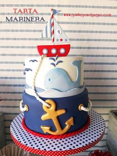 Baby shower varon pastel New ideas Nautical Birthday Cakes, Nautical Cake, Nautical Party, Baby Birthday, Bolo Fake Eva, Navy Cakes, Bolo Fack, Rodjendanske Torte, Boat Cake