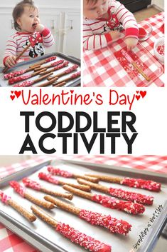 Valentine's Day Activity for kids and toddlers day party for kids Toddler Valentines Day Activity- Dipped Pretzels Valentines Day Food, Toddler Valentine Crafts, Kinder Valentines, Valentines Day Activities, Homemade Valentines, Valentines Ideas For Babies, Valentines Crafts For Preschoolers, Valentine Gifts, Valentine Theme