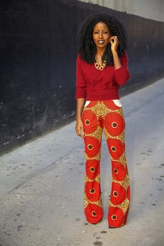Fashion Blogger, Folake Kuye Huntoon  @Karen Darling Pantry -- African print pants