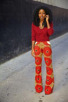 Fashion Blogger, Folake Kuye Huntoon  @Karen Darling Pantry -- African print pants