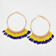 "Boho Chic 2"" Round Navy and Yellow Tassel Dangle Earrings"