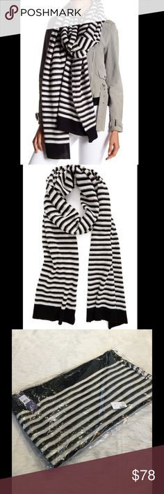 """🌸2 for $60🌸Rebecca Minkoff Striped Blanket Scarf Rebecca Minkoff cozy blanket scarf in cream and black stripes knit from supersoft yarn.  22""""x112"""". Rebecca Minkoff Accessories Scarves & Wraps"""