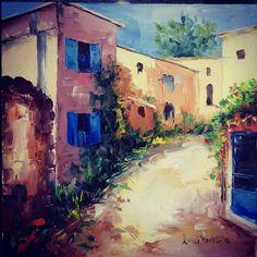 Pe strada ce urcă, e casa cu obloane albastre, imediat pe partea stângă ... sigur o găsești. Painting, Art, Art Background, Painting Art, Kunst, Paintings, Performing Arts, Painted Canvas, Drawings