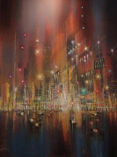Harbor of Lights by Tom Shropshire Night Rain, Rain Art, Love Rain, Light Painting, Pavement, Seattle Skyline, Night Life, Toms, Clouds