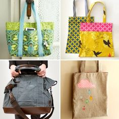 "Here are four sewing tutorials for bags, ranging from easy to ""I'm sorry, what?"" Take your pick based on your level of ambition:"