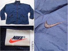 ac96af2b1db6b4 Vintage Men s Nike 90 s Jacket Blue Black Embroidered Swoosh Logo Full Zip  Windbreaker Nylon Streetwear Oversized