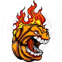 Free Printable Basketball Clip Art   Basketball Ball Face with Flaming Hair Vector Image