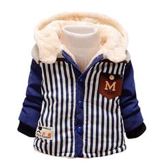 FEITONG Kids Baby Winter Cartoon Cat Solid Color Winter Down Cotton Liner Hooded Coat Thick Warm Jacket