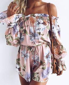 #summer #outfits  Pink Floral Off The Shoulder Romper + Camel Leather Shoulder Bag💕