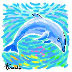 Art Print 8.5x11 Aqua Dolphin by Kelly Tracht Art by trachtart