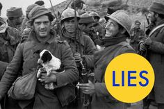 George Orwell did serve as a soldier during the Spanish Civil War, the man holding the puppy above isn't George.