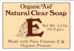 Organic Aid - Natural Clear Soap by Organic Aid. $7.99. Organic Aid - Natural Clear Soap.. Made with Pure Vitamin E & Organic Protein.. Net Wt. 3.3 Oz.. Organic Aid - Natural Clear Soap.  Non-Comedogenic.  Organic Aid Clear Soap is a gentle cleansing soap, which has been demonstrated in scientific tests not to produce comedones or blackheads, the forerunners of acne.