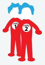 DIY Halloween Costume: Thing 1, Thing 2 - Get Einstein wigs and spray them with blue hair spray. Find matching red skirts and tank tops. Use white felt and a permanent marker to create the Thing 1 and Thing 2 circles and then you can either hot glue them to the tank tops or put ribbon on them and wear them around your neck. Add red shoes, fishnets, red gloves and a funky pair of sunglasses to complete the look.