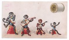 J P Coats Thread Trade Card Monkey Musical Quartet 1889 Calendar Back