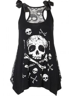 "OMG.....Need this... ..Women's ""Skull and Crossbones"" Tank with Skull Lace Back by Jawbreaker (Black)"