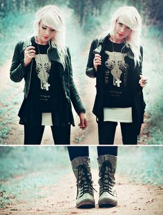 Skull Print Tee, Leather Jacket, Oversized Blouse, Boots