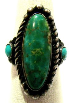 STERLING SILVER MULTI TURQUOISE RING WIDE SIZE 6 7 GRAMS SYBOLL