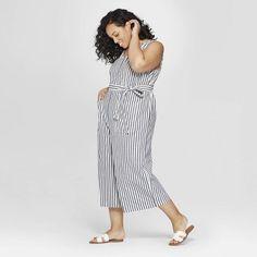 19c268d970d1 Women s Plus Size Striped Sleeveless V-Neck Jumpsuit - Universal Thread  Navy 1X