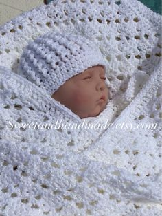 So cute crochet baby afghan and hat set receiving blanket and