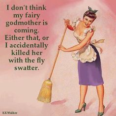 I don't think my fairy godmother is coming. Either that, or I accidentally killed her with the fly swatter. Retro Humor, Vintage Humor, Retro Funny, Funny Vintage, Just My Luck, Just For You, I Love To Laugh, Make Me Smile, Domestic Goddess