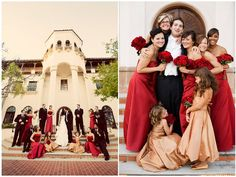 wedding party, red and gold, turnip rose  www.klkphotography.com
