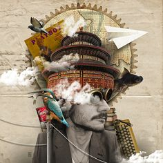 40 Creative Photo Collage Effects and Photoshop collage art works Collage Foto, Collage Portrait, Portraits, City Collage, Abstract Portrait, Portrait Photo, Photomontage, Illustration Arte, Illustrations