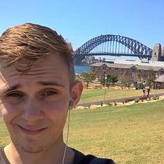 Sydney Harbour Bridge anyone want to see me climb it!? #Sydney #Australia #Sydneyharbourbridge #explore #adventure #instadaily #selfie #whatsgoingonwithmyfacialhair #lol #sunshine by jaejae1911 http://ift.tt/1NRMbNv