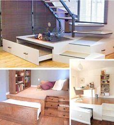 44 Cozy Furniture Design For Small Apartments House, Hidden Bed, Small Spaces, Tiny House Furniture, Small Room Design, Small Apartments, Space Saving Furniture Tiny Houses, Space Saving Beds