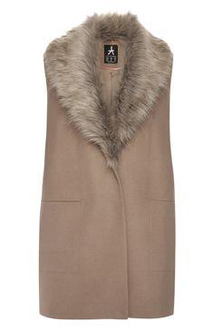 Camel Sleeveless Faux Fur Collar Coat
