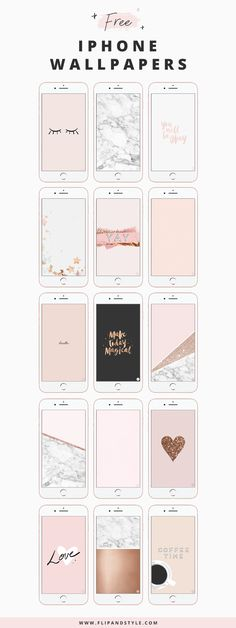 Free iPhone Wallpaper | Blush pink, marble, rose gold, glitter and stars wallpapers and backgrounds www.flipandstyle.com