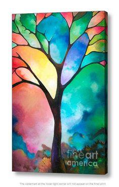 Abstrakte Baum des Lebens Malerei Kunstdruck auf Leinwand