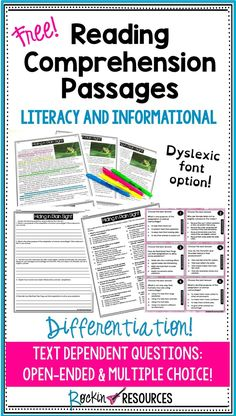 Free Reading Comprehension Passages with Questions - Classroom Freebies - Reading Comprehension Activities, Reading Fluency, Reading Intervention, Reading Passages, Teaching Reading, Reading Strategies, Free Reading, Guided Reading, Reading Response