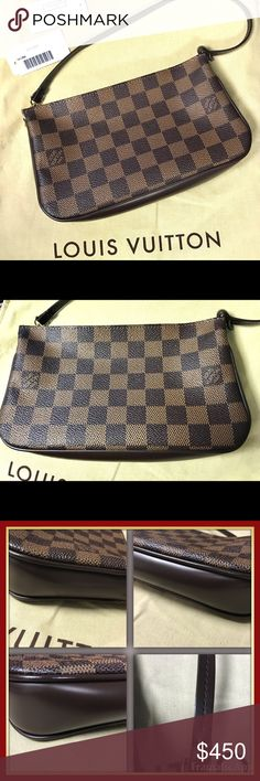 """Louis Vuitton Navona N51983 purse Louis Vuitton Navona N51983 purse.  💯 % authentic!   Absolutely gorgeous and near perfect condition.  There are absolutely no flaws in the material, hardware, zipper, or strap.  No scuff marks on sides or bottom. The interior is in excellent condition, with 2-3 extremely minor marks, nearly invisible. Original tags and dustbag included.  This bag has been incredibly well taken care of.  Bag measures 8.5"""" wide x 5"""" tall x 3"""" deep.  7"""" strap drop. Louis…"""