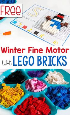 Free printable winter fine motor mats with LEGO bricks! Use your LEGO to build f… Free printable winter fine motor mats with LEGO bricks! Use your LEGO to build fine motor skills with these winter activities. English and Spanish versions included. Fine Motor Activities For Kids, Lego Activities, Winter Activities For Kids, Motor Skills Activities, Kindergarten Activities, Preschool Fine Motor Skills, Thema Winter Im Kindergarten, Used Legos, Winter Diy