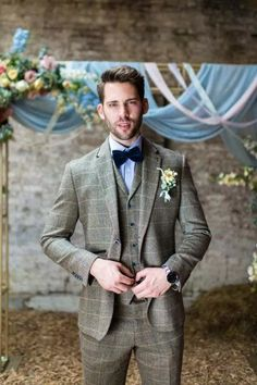08 a brown windowpane print three-piece suit with blue buttons, a blue shirt, a navy velvet bow tie - Weddingomania Vintage Wedding Suits, Tweed Wedding Suits, Vintage Groom, Wedding Men, Wedding Blog, Wedding Dress, Groom Attire, Groom Suits, Wedding Couple Pictures