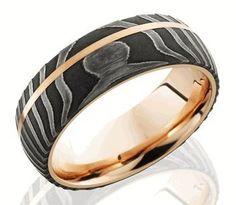 Men's Rose Gold and Damascus Steel Ring - Titanium-Buzz