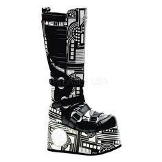 """Techno-856UV Black/White Goth Cyber Boot TEC856UV/B/PU-W [TEC856UV/B/PU-W] - £123.99 : Darkmoon Footwear, Demonia Shoes | Demonia Boots | Gothic Footwear"" Oooo :3"