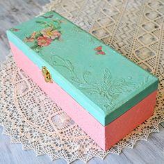 Baby girl memory box, personalized baby keepsake box - decoupage, mixed media
