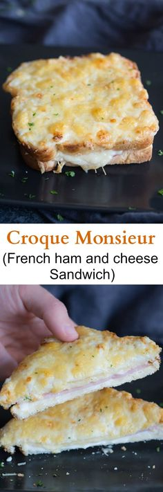 Croque Monsieur is the French version of a toasted ham and cheese sandwich. As someone who loves grilled cheese, ham sandwiches, AND ham and cheese hot pockets, there is simply no way this can go wrong! Grilled Sandwich, Soup And Sandwich, Sandwich Recipes, Vegan Sandwiches, Chicken Sandwich, Sandwich Croque Monsieur, Masterchef, Le Diner, Ham And Cheese