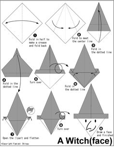 Origami A Witch(face) instructions